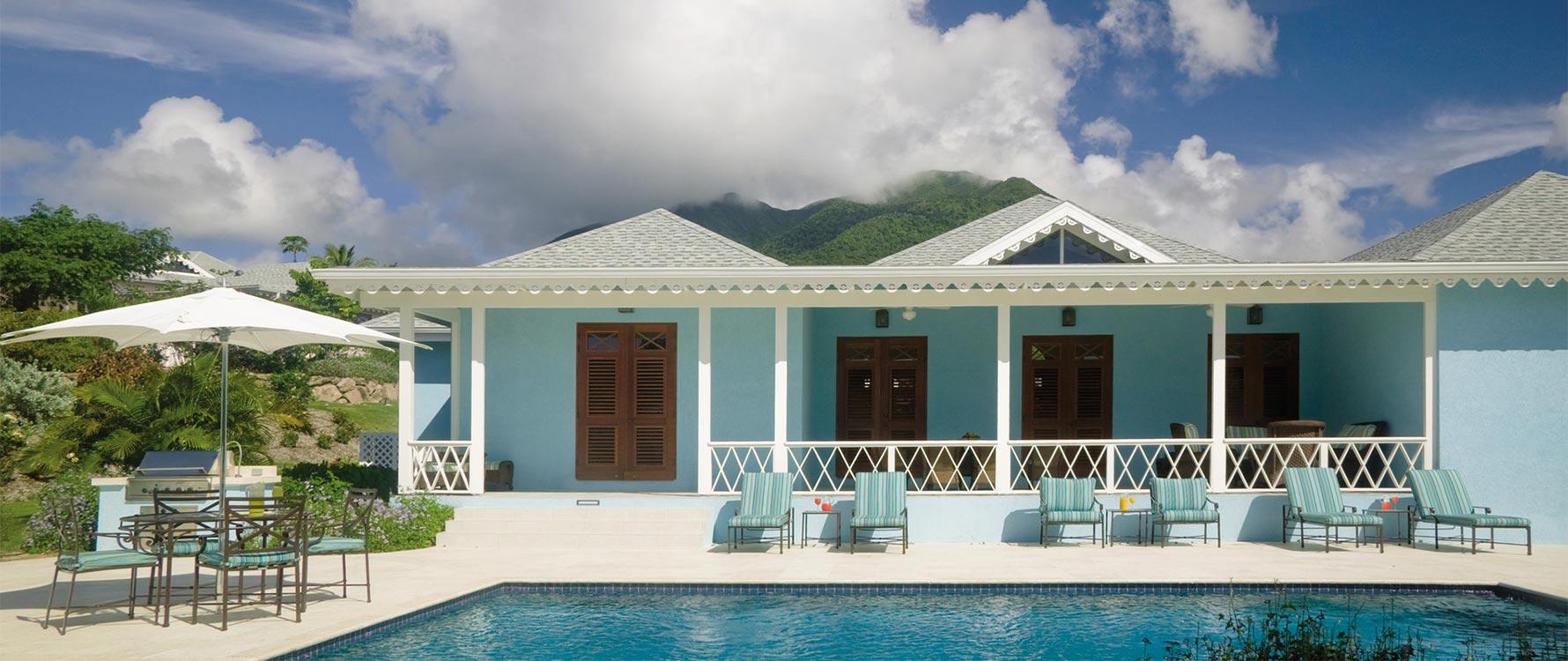 View from pool Nevis peak in backdrop