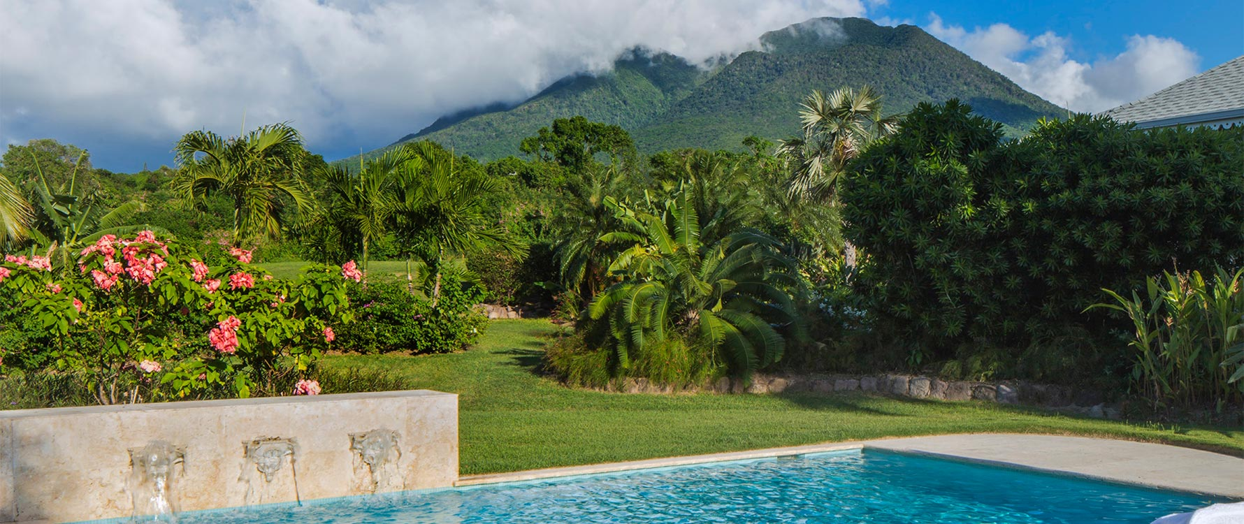 Pool Deck closer in with Nevis Peak