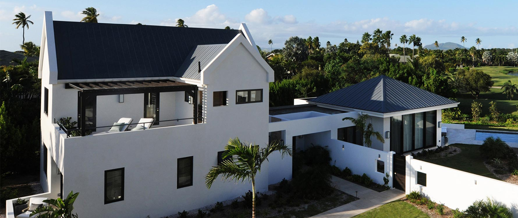 Overview shot of a Pinney's Beach Villa on Nevis